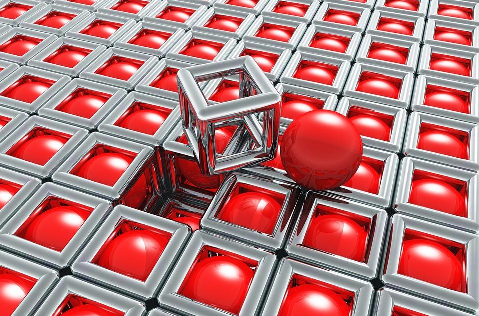 red balls inside chrome boxes