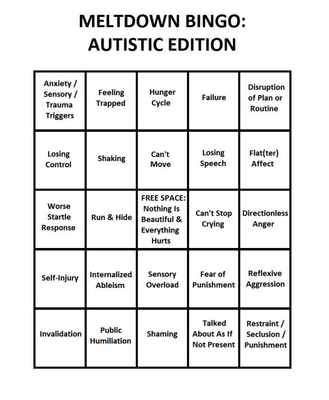 Meltdown Bingo Autistic Edition Scorecard