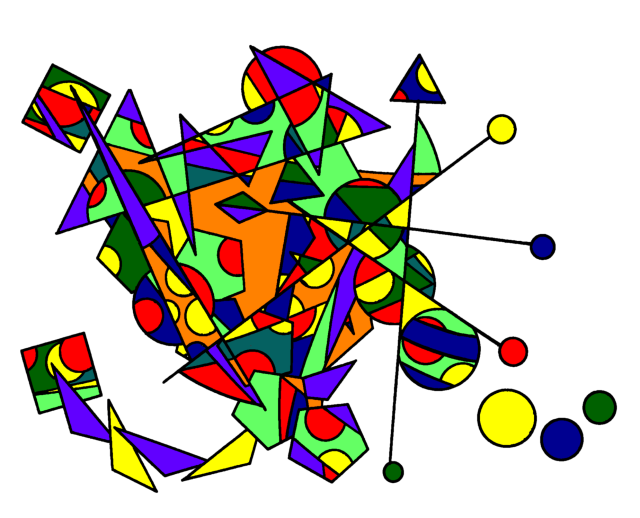 abstract colorful artwork from of lines and shapes