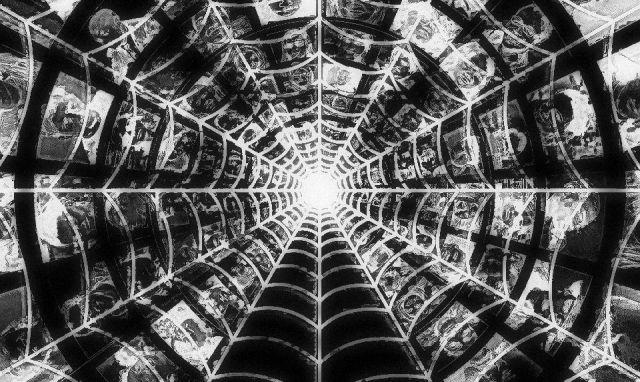 faces behind cobweb